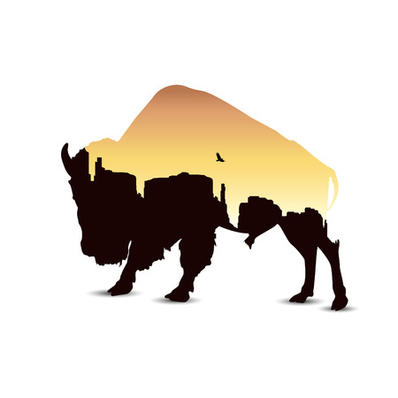 Silhouette of buffalo with western desert.