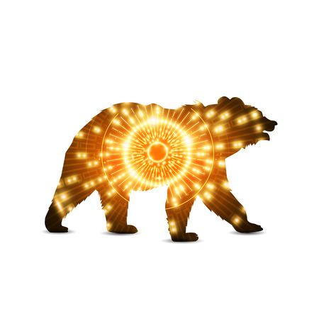 Silhouette of brown bear with hi tech eye neon background.