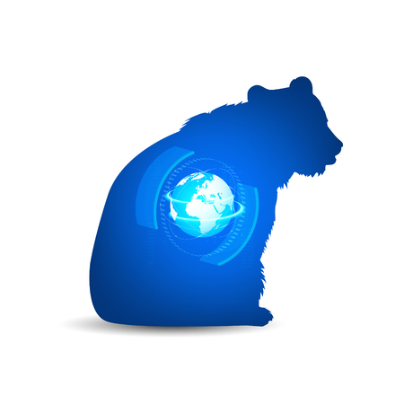 Silhouette of sitting bear with 3D globe, abstract elements and neon lights in space. Stock Photo