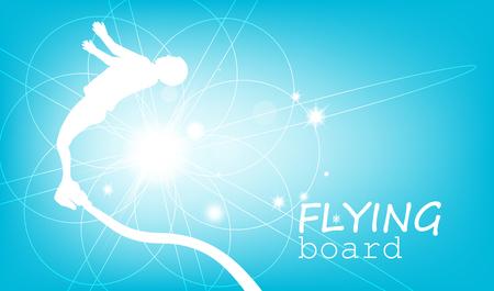 Abstract silhouette. Flying board man. Blue and white tones. Ilustración de vector