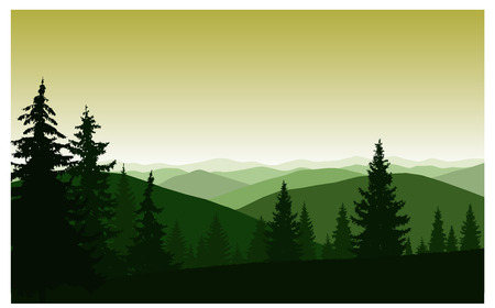 Silhouette of mountains and coniferous trees. Evening. 向量圖像