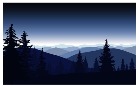 Silhouette of mountains and coniferous trees. Evening. Blue shades. 向量圖像