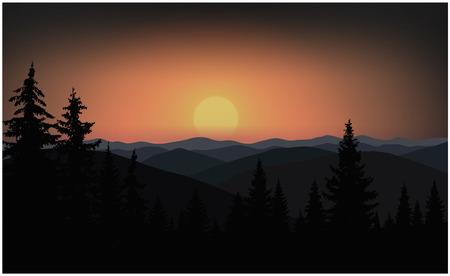 Image landscape. Sunset in mountains. Colorful sky. 向量圖像
