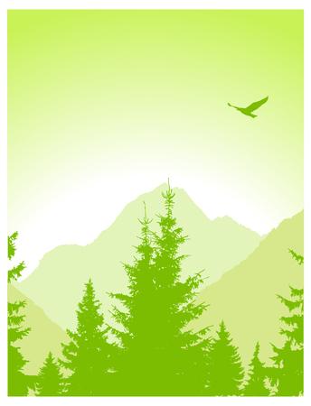 Landscape. Eco banner. Green tones.