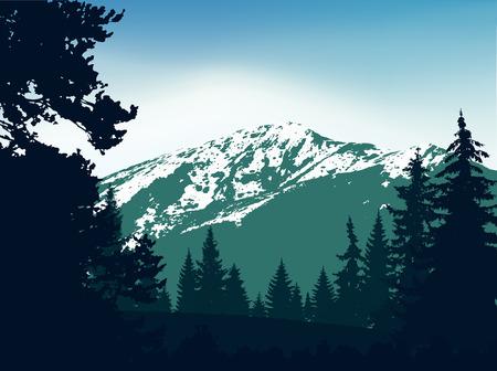 Panorama des montagnes. Silhouette de montagnes avec de la neige et des conifères sur fond de ciel coloré. Tons verts et bleus. Peut être utilisé comme bannière d'eau minérale.