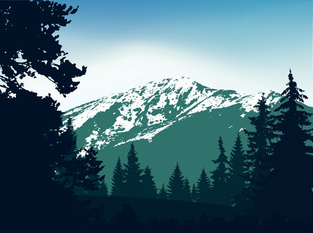 Panorama of mountains. Silhouette of mountains with snow and coniferous trees on the background of colorful sky. Green and blue tones. Can be used as banner of mineral water.