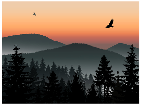 Landscape. Panorama of mountains. Sunset. Mist. Flying eagles. Ilustração