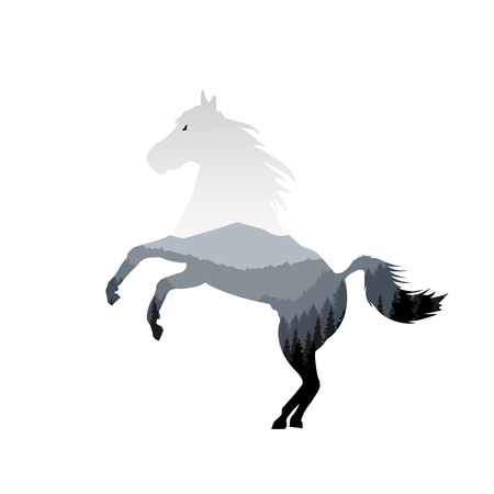 Silhouette of running horse with mountain landscape. Grey tones.