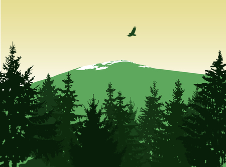 Landscape. Eco banner. Green and yellow tones.