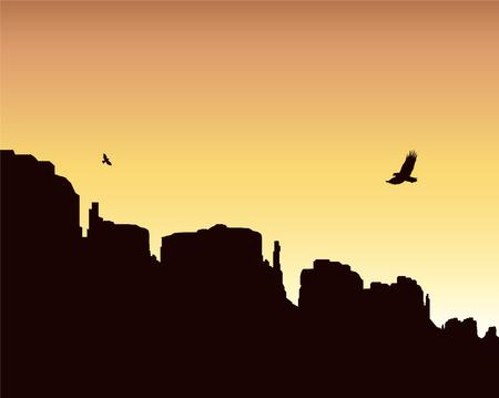 landscape background. Western desert. Rocks. Flying eagles. Colorful sky. Vectores