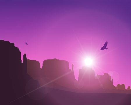Western desert. Rocks. Flying eagles. Abstract violet and pink colours of sky. Rays of sun or star 矢量图像