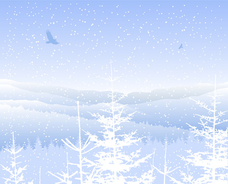 Landscape. Silhouette of mountains and coniferous trees. Blue shades. Winter. Cold. Ilustrace