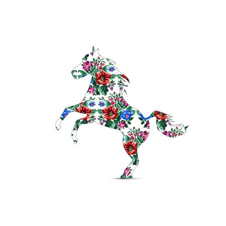 Silhouette des Pferdes mit Farbblumenstrauß aus Wildblumen (Lilia, Glockenblume, Berberitzenblume und Kornblumen) unter Verwendung traditioneller ukrainischer Stickelemente.