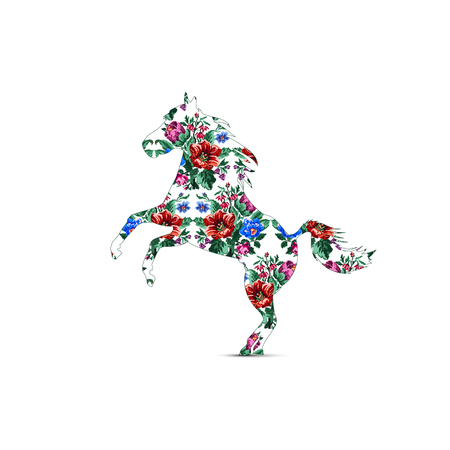 Silhouette of horse with color bouquet of wildflowers (lilia, bellflower, barberry flower and cornflowers) using traditional Ukrainian embroidery elements. Illustration