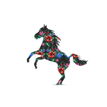 Silhouette des Pferdes mit Farbblumenstrauß aus Wildblumen (Lilia, Glockenblume, Berberitzenblume und Kornblumen) auf schwarzem Hintergrund mit traditionellen ukrainischen Stickelementen. Vektorgrafik