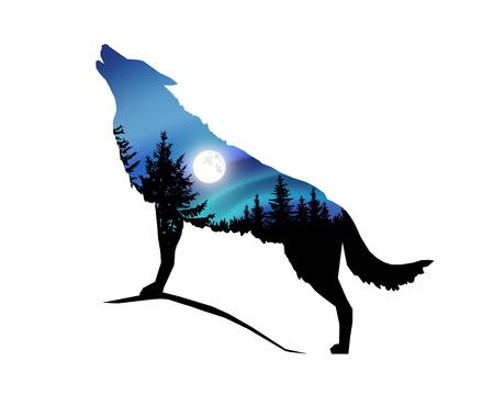 Silhouette des heulenden Wolfes mit Nadelbäumen auf dem Hintergrund des bunten Himmels. Mondlicht.
