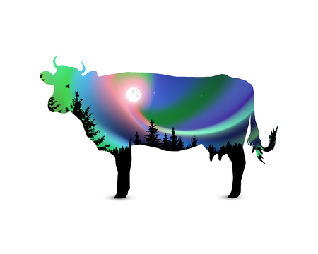 Silhouette of cow with coniferous trees on the background of colorful sky. Moonlight. Northern lights.