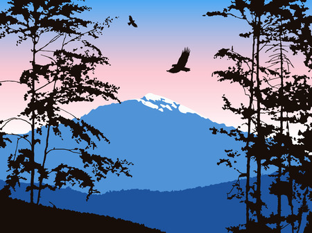 Panorama of mountains. Silhouette of mountains with snow and deciduous trees. Pink and blue tones. Can be used as banner of mineral water, eco logo, background of computer devices ...