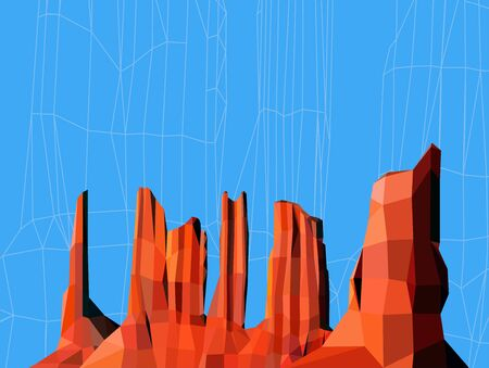 Landscape background. Western desert. Red rocks. Blue sky.
