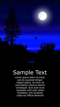 Colorful background for flyer or website design. Neon lights. Moonlight. Violet, blue  and black tones. Illustration
