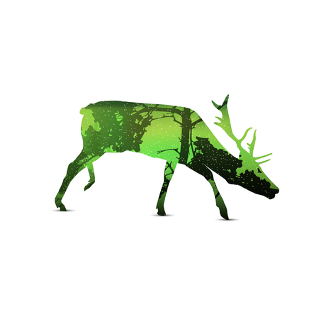 Silhouette of snarling elk with spring landscape. Illustration