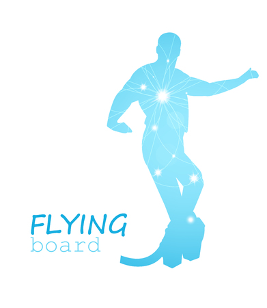Abstract silhouette. Flying board man. Blue and white tones.