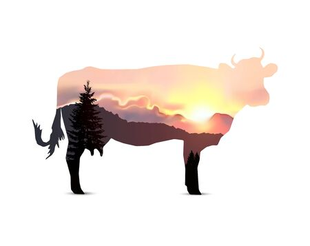 Silhouette of cow with coniferous trees on the background of mountains and colorful sky. Sunset.