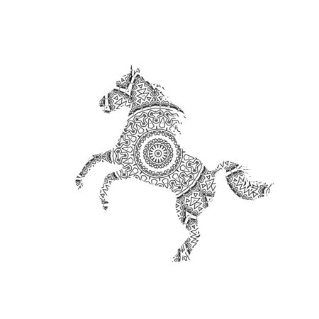 Silhouette of running horse with king`s circular ornament.  Zentagle art.