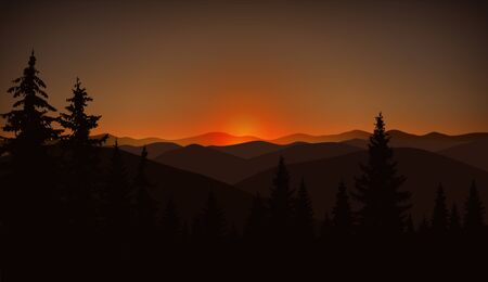 Mountain landscape. Brown shades. Sunset.