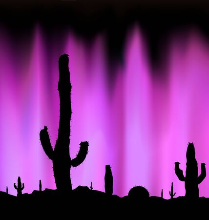 Silhouette of blooming cactuses on the background of night sky. Dangerous place. Abstract  violet  lights. Neon presentation.