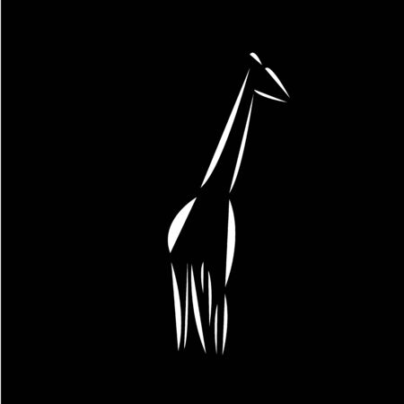 Schematic  icon of  african giraffe. Black background. Reklamní fotografie