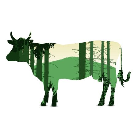 Silhouette of cow with  forest landscape. Eco banner. Green and yellow tones. Reklamní fotografie