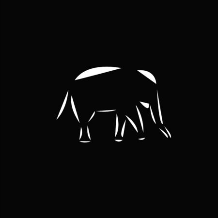 Schematic   icon of running elephant on the black background.