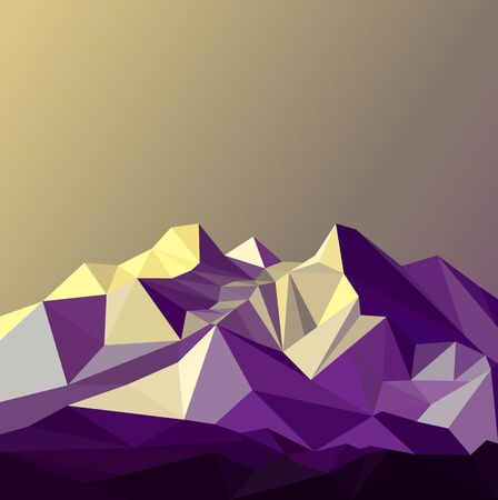 Image  snow mountains peak banner. Polygonal art. Blue, violet and yellow  tones. Reklamní fotografie
