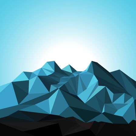 Snow mountains peak banner. Polygonal art. Blue tones of mountains. Blue sky.