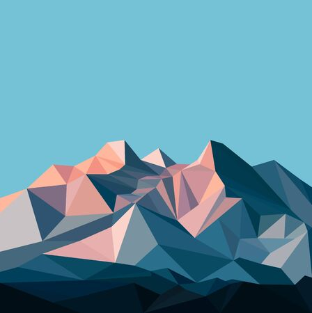 Snow mountains peak banner. Polygonal art. Blue and pink tones of mountains. Blue sky.