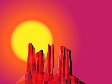 Landscape background. Western desert. Red rocks. Sunset. Colorful (yellow, red and pink) tones.