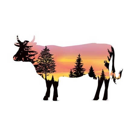 Silhouette of cow with coniferous trees on the background of colorful sky. Sunset. Reklamní fotografie