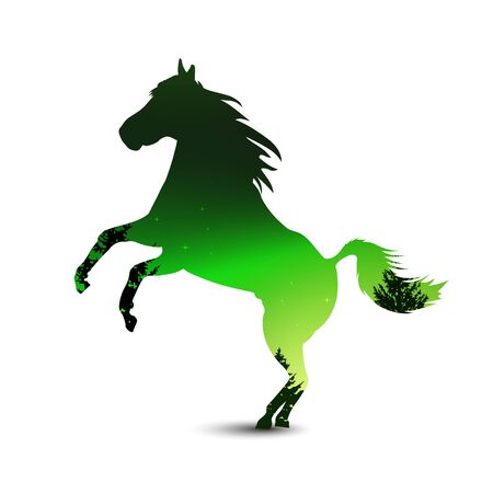 Silhouette of horse with pine forest on the background of colorful sky.  Northern lights. Green and black tones.