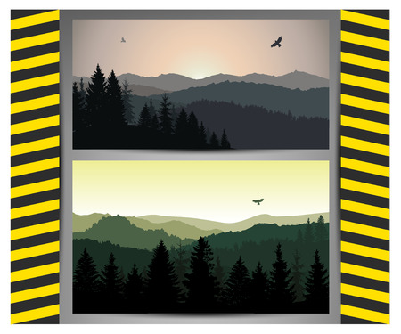 Set with two mountain landscapes. Natural and grey tones. Traffic stop sign on boards.