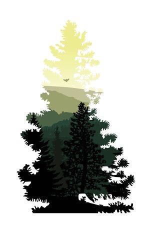 Silhouette of coniferous tree with panorama of mountains. Green and yellow tones.
