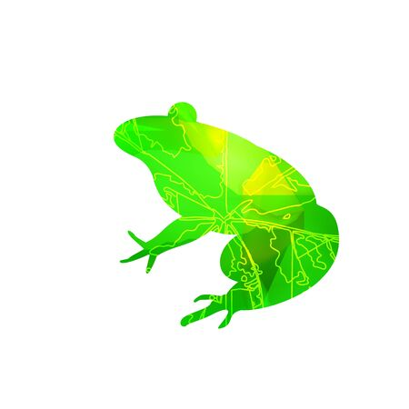Silhouette of frog with leaf veins and stone cubes. Can be used as badge of french restaurant. Reklamní fotografie