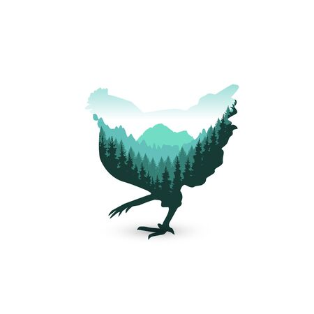 Silhouette of chicken with wild nature of mountains. Green tones.