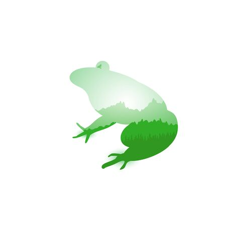 Silhouette of frog with mountains landscape. Silhouette of coniferous trees. Evening. Green and grey shades. Can be used as badge of french restaurant. Reklamní fotografie