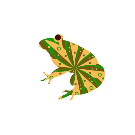 Silhouette of funny frog with colorful circular background.