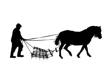 Silhouette of country man plowing by horse. Illustration