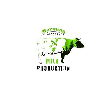 Badge of spotted cow with double exposure. Background of green northern lights and black coniferous trees.