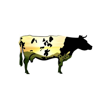 Icon of spotted black cow with double exposure. Background of green mountains and colorful sunset sky.