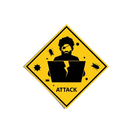 Icon of digital pirate with laptop in yellow warning rectangle. Illustration