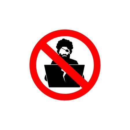 Icon of digital pirate with laptop in ban sign.  Illustration